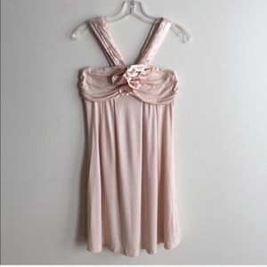 Blush Pink Floral Trim A Line Halter Dress!